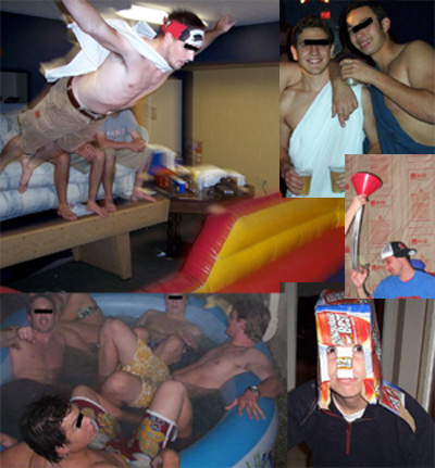 Abu Ghraib images: (Images clockwise from upper right) Prisoners drinking beer in togas; Prisoner after a beer bong; Prisoner wearing a beer carton helmet; Prisoners crammed into a kiddie pool; and Prisoner leaping onto a bouncy mat