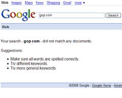 A Google search for gop.com returns zero results